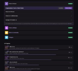 Twitch Achievements Page