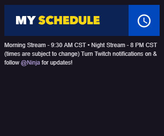 Stream Schedule and Countdown Extension - Ninja